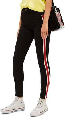 Topshop Jamie Airtex Stripe Moto Jeans