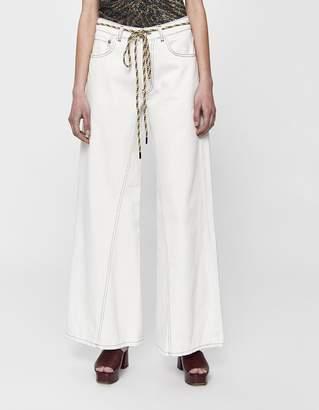 Ganni Washed Wide Leg Jean in Bright White