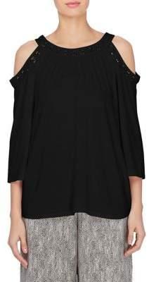 Joan Vass New York Cold-Shoulder Blouse