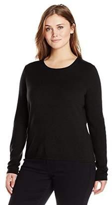 Lark & Ro Women's Plus-Size 100% Cashmere Slim-Fit Crewneck Sweater