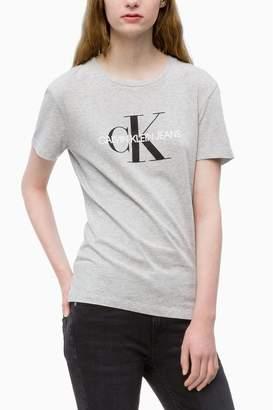 Calvin Klein Womens Jeans Monogram Logo T-Shirt - Grey