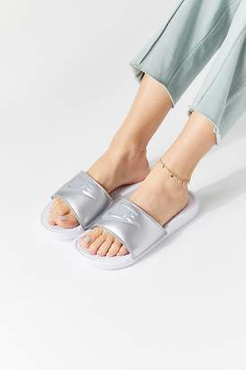 6aed28122a00f2 at Urban Outfitters · Nike Benassi JDI Metallic Slide Sandal