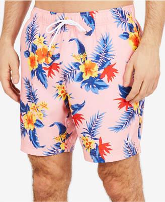 """Nautica Men's Hibiscus Floral-Print 8""""Swim Trunks"""