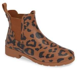 Hunter Leopard Print Refined Chelsea Rain Boot