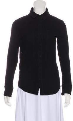 RtA Denim Pointed Collar Leather Jacket Black Denim Pointed Collar Leather Jacket