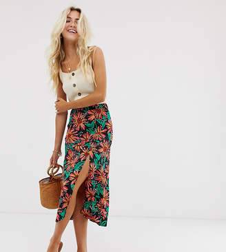 Wednesday's Girl midi skirt in tropical floral