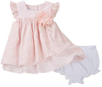 Pippa & Julie Short Sleeve Flutter Dress & Bloomer Set (Baby Girls 3-9M) $54 thestylecure.com