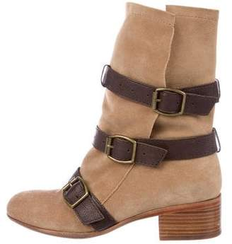 Modern Vintage Round-Toe Suede Ankle Boots