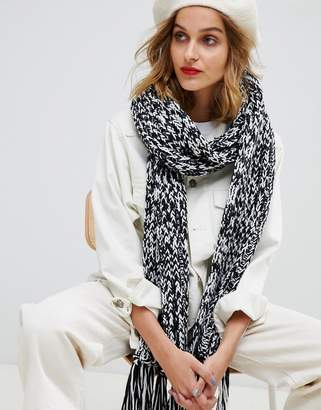 Asos DESIGN plain knitted rib scarf with tassels