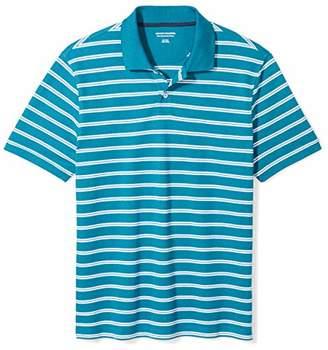 Amazon Essentials Men's Slim-Fit Striped Cotton Pique Polo Shirt
