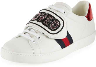 Gucci Rainbow Loved Patch Leather Sneakers