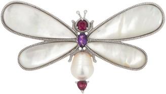 Gemstone Dragonfly Pin/Pendant, Sterling Silver