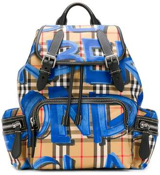 Burberry vintage check graffiti rucksack