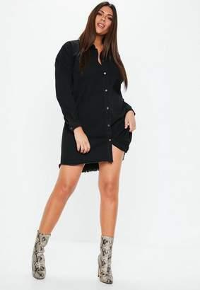 Missguided Plus Size Black Oversized Denim Shirt Dress