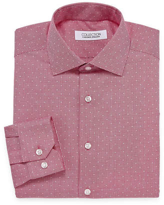 COLLECTION Collection by Michael Strahan Wrinkle Free Cotton Stretch Long Sleeve Woven Pattern Dress Shirt