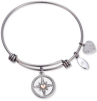 """Unwritten Follow your Inner Compass"""" Crystal Compass Charm Adjustable Bangle Bracelet in Stainless Steel"""