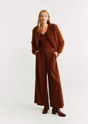 MANGO Fine-knit t-shirt burnt orange - XS - Women