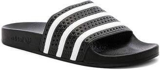 adidas Adilette in Black & White & Black   FWRD
