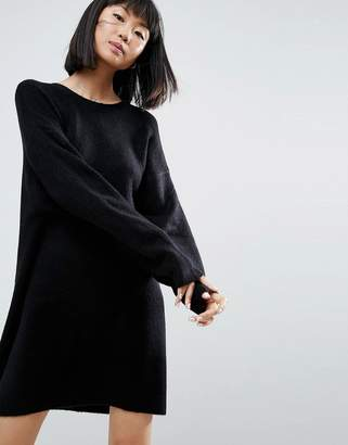 Asos DESIGN Knitted Dress with Crew Neck in Fluffy Yarn