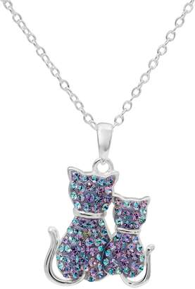 Hue Sterling Silver Crystal Cat Pendant Necklace