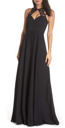 Paige Hayley Occasions Lace & Chiffon Halter Gown
