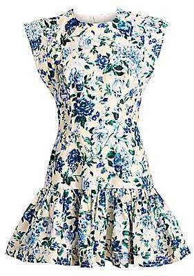 Zimmermann Women's Moncur Floral Linen Midi Flounce Dress