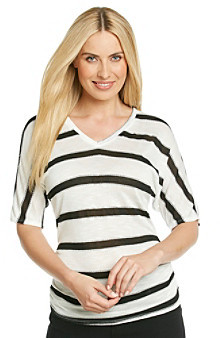 Amy Byer V-Neck Novelty Printed Stripe Sweater