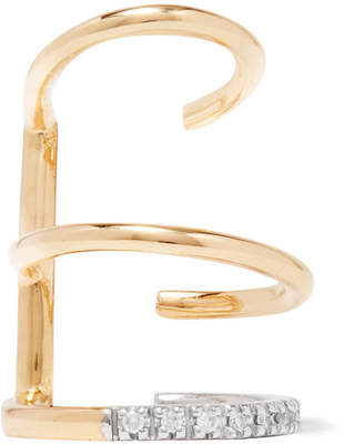 Laurèl Maria Black Blanc 14-karat Gold, Rhodium-plated And Diamond Ear Cuff