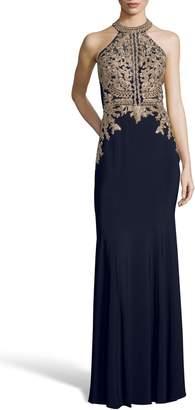 Xscape Evenings Lace Applique Open Back Evening Dress