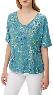 White Stuff Abstract Jersey T-Shirt, Peacock Green