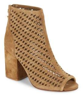 Flash Perforated Peep-Toe Suede Ankle Boots $255 thestylecure.com