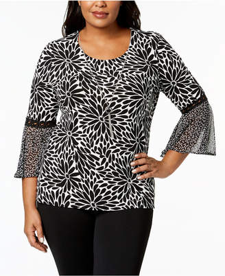 JM Collection Plus Size Bell-Sleeve Necklace Top, Created for Macy's