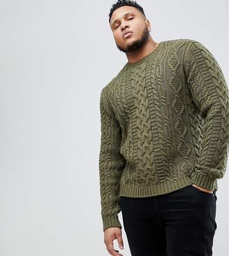 Asos Design PLUS Cable Knit Sweater In Khaki