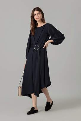 Amanda Wakeley Midnight Pinstripe Midi Dress