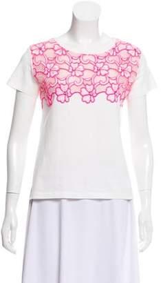 Ungaro Lace-Accented Crew Neck T-shirt