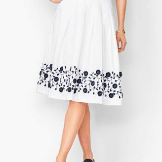 Talbots Pleated Floral-Border Skirt