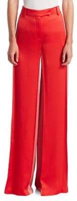Valentino Hammered Satin Side Panel Flare Pants
