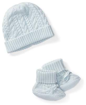 Ralph Lauren Cotton Accessory Set, Blue, Size Newborn-9 Months