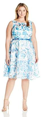 Julian Taylor Women's Plus Size Burnout Floral Sleeveless Fit and Flare Dress