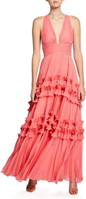 Halston V-Neck Sleeveless Pleated Gown with Smocked Ruffle Trim