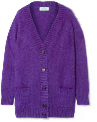 Prada Oversized Mohair-blend Cardigan - Purple