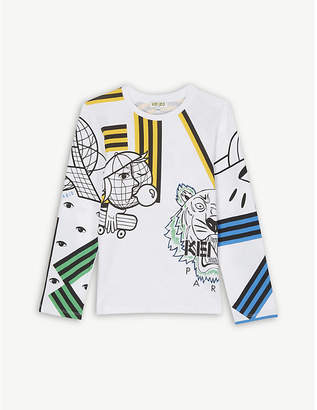 Kenzo Globe and tiger cotton T-shirt 4-14 years