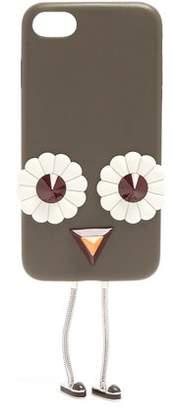 Fendi Blossom Embellished Leather Iphone 7 Case - Womens - Grey Multi