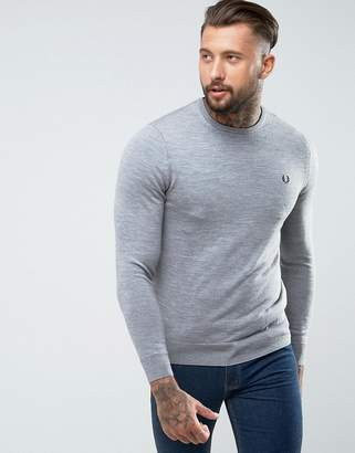 Fred Perry Merino Crew Neck Jumper in Light Grey