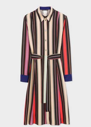 Paul Smith Women's Black Stripe Crepe Finish Shirt Dress