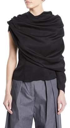 Awake One-Sleeve Draped Button-Back Blouse