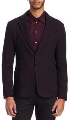 Emporio Armani Men's Stretch Check Soft Jacket - Solid Dark Red - Size 54 (44) R