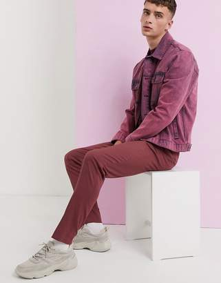 Asos Design DESIGN skinny smart trousers in dusty berry