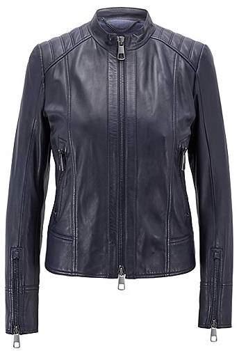 Regular-fit biker jacket in lambskin leather