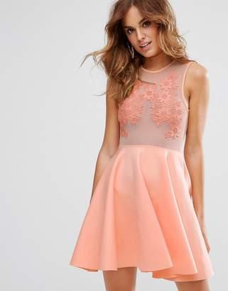 Asos Lace Applique & Mesh Mix Skater Mini Dress